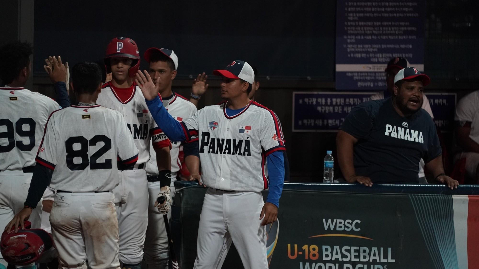 Panama celebrates a run