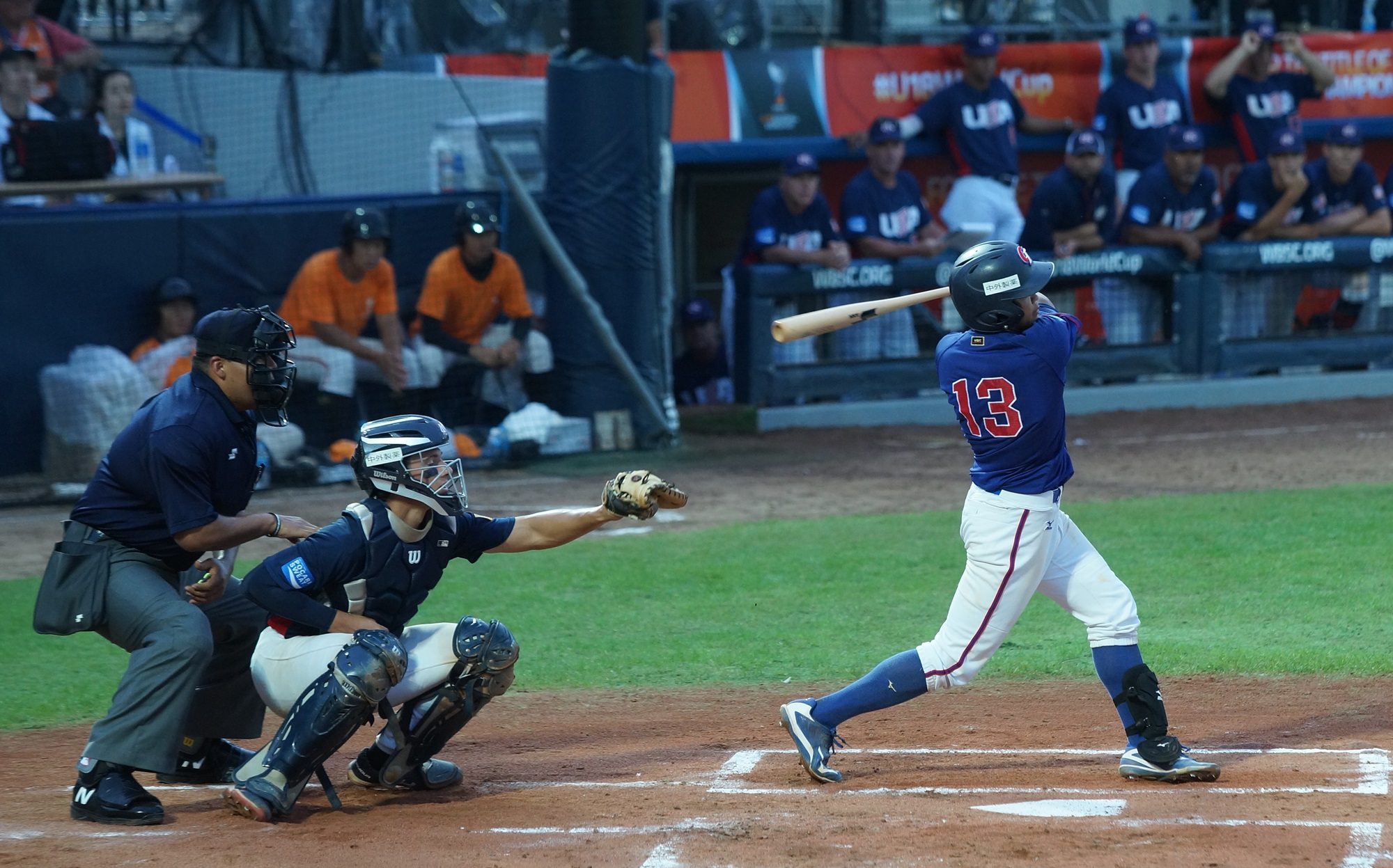 Wang Shun Ho hit a triple and then scored the first run for Chinese Taipei