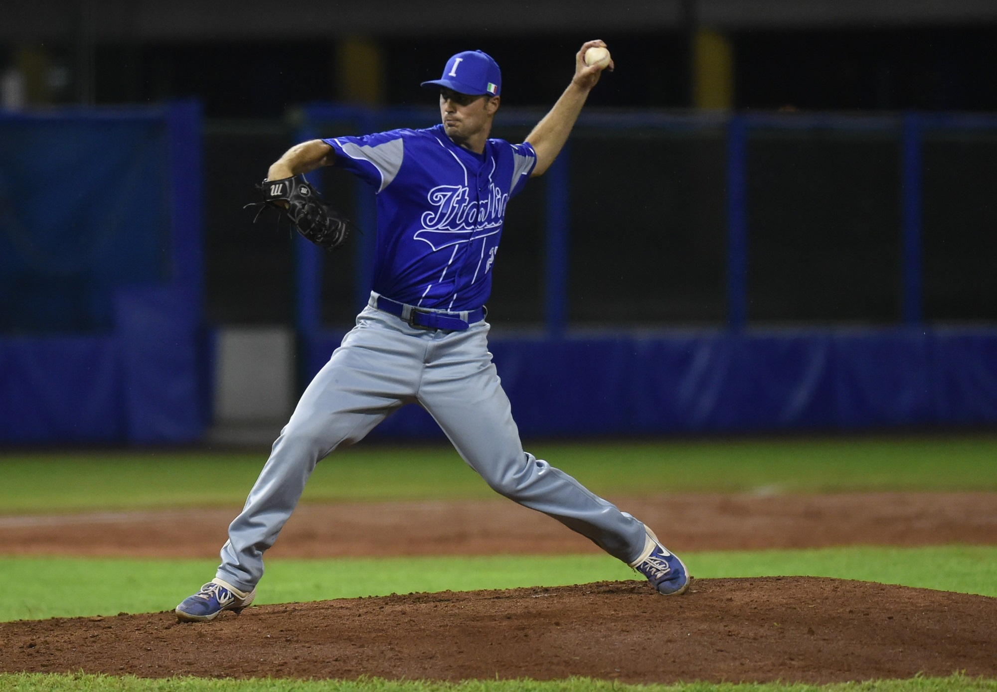 Michael Johnson took the mound for Italy in the bottom of the fourth