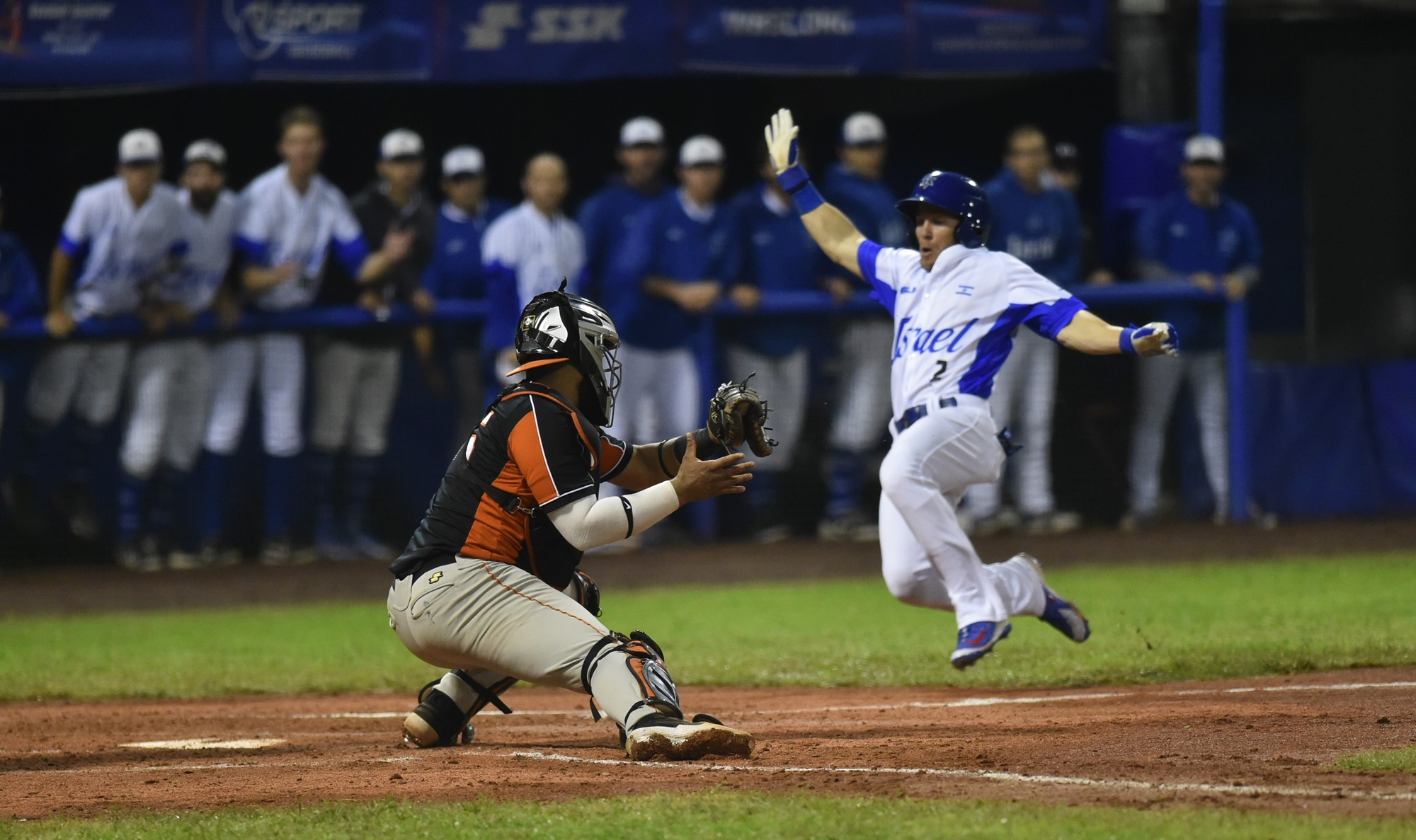 Israel scored eight runs despite losing two runners at home plate