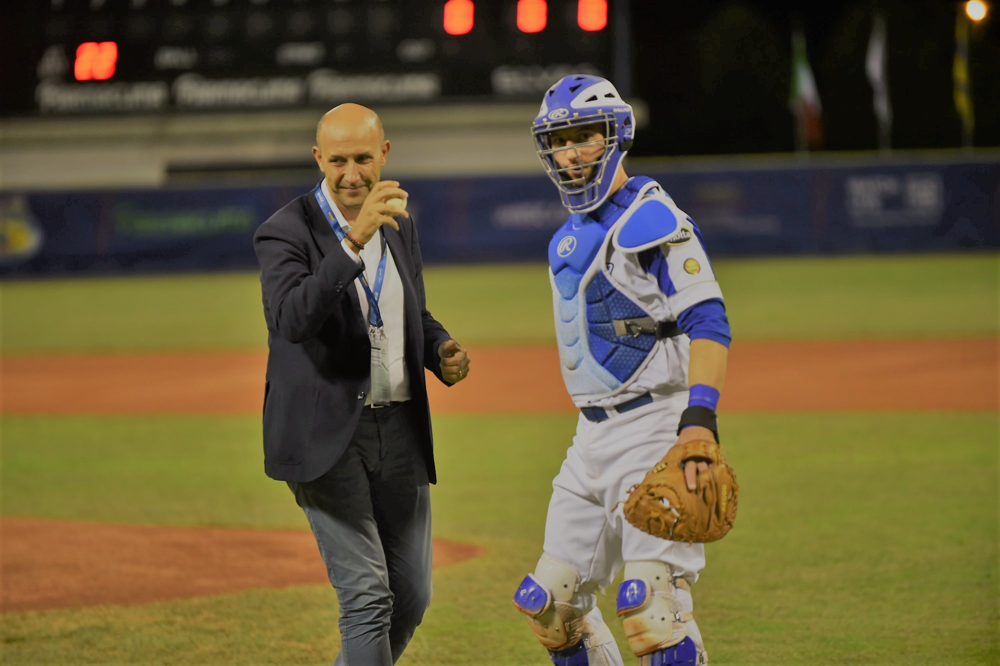 Michele Alinovi, the Commissioner of the City of Parma for planning and development, made the ceremonial first pitch