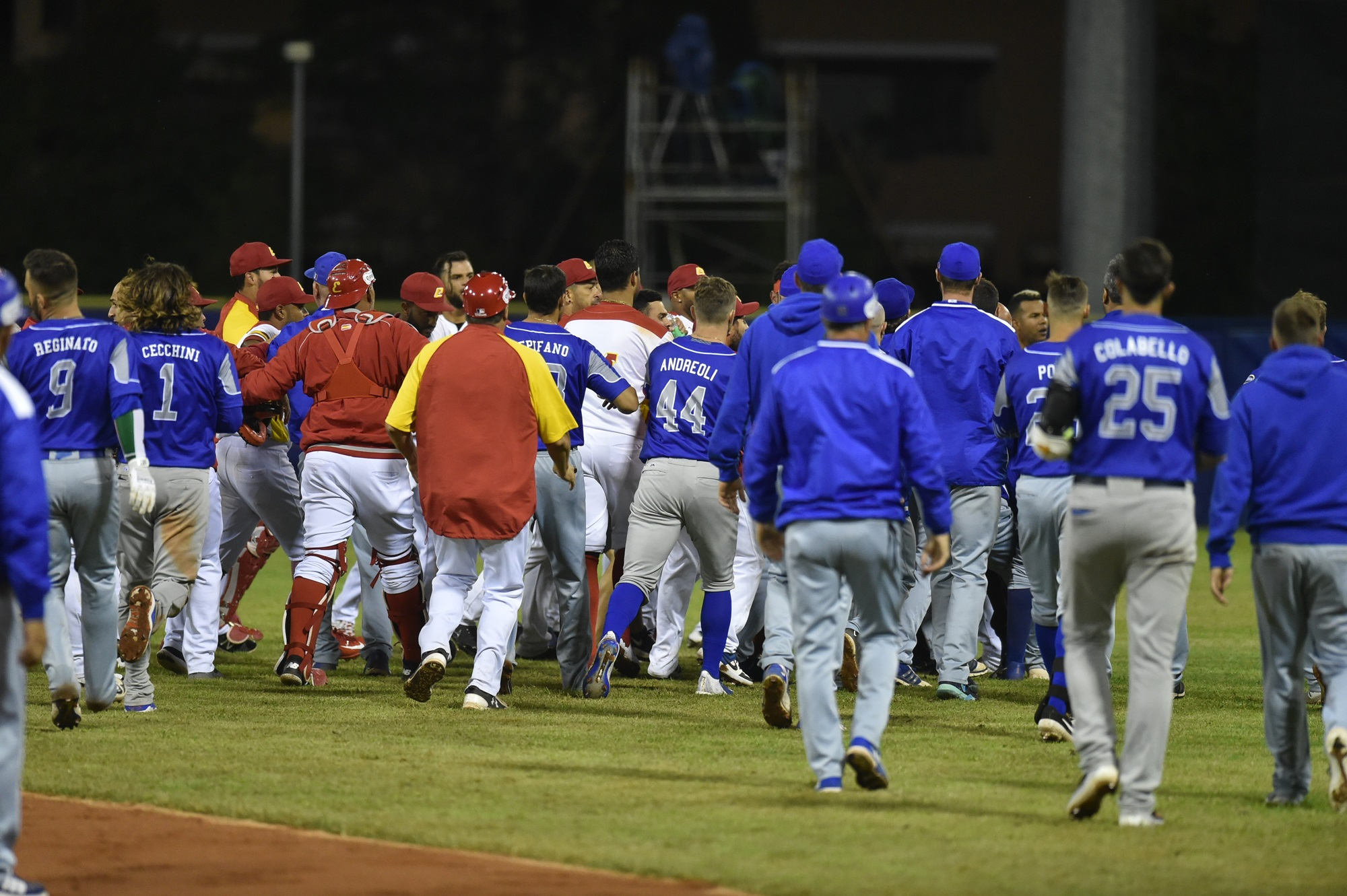 The game ended with a bench and bullpen clearing brawl