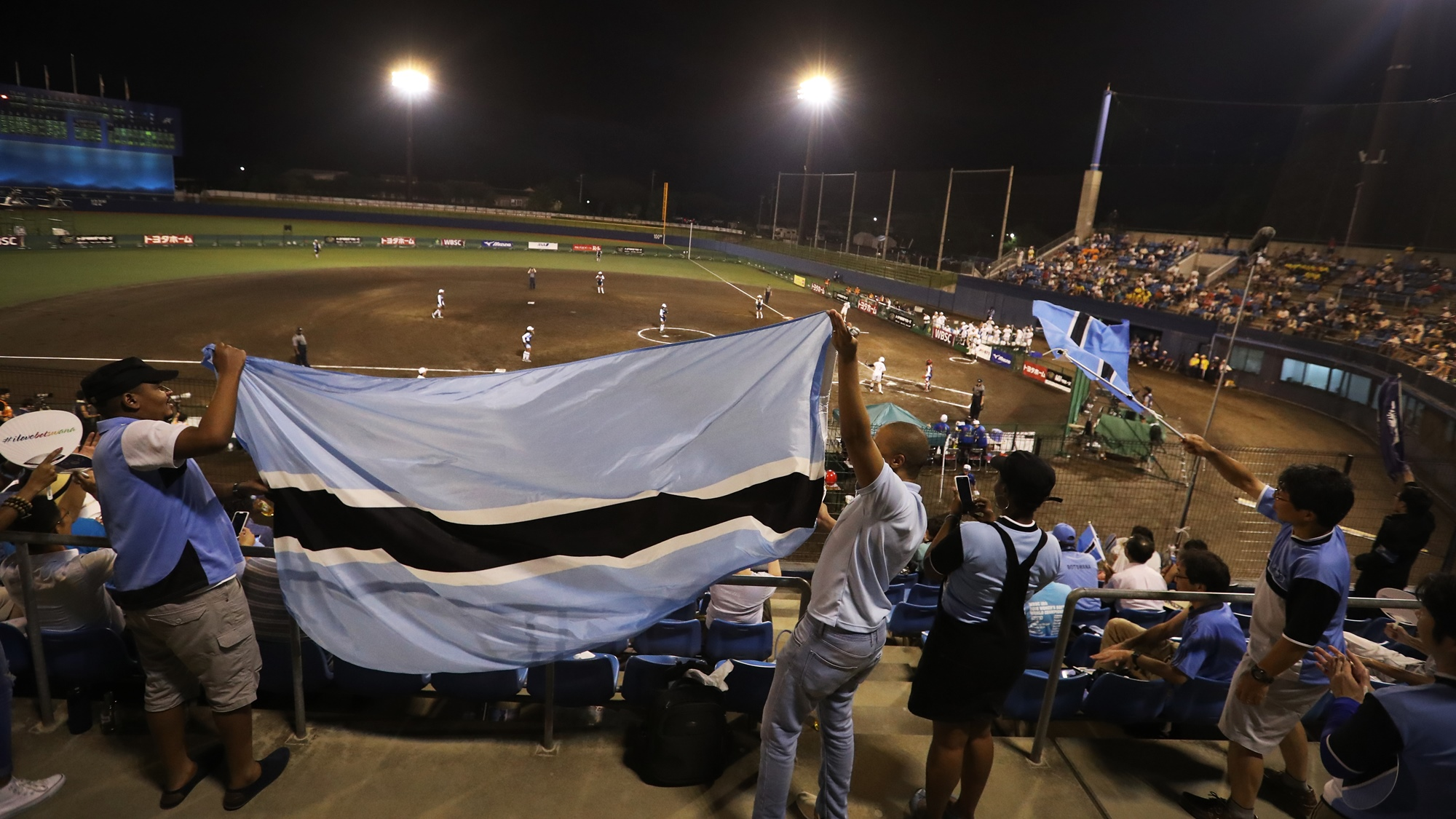 Fans from Botswana cheering for their team