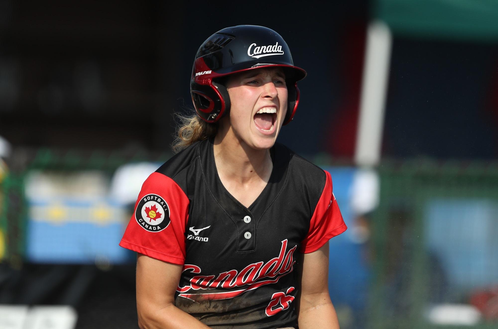 Larissa Franklin after scoring the winning run