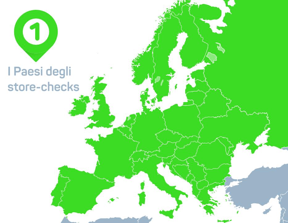 Mappa dei paesi degli store checks internazionali