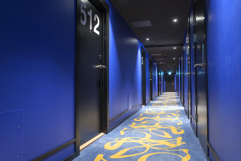 korridor, hotellkorridor, interiør, hotell