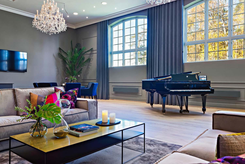 herskapelig, interiør, hotell, Veritas Have, visningssenter, piano