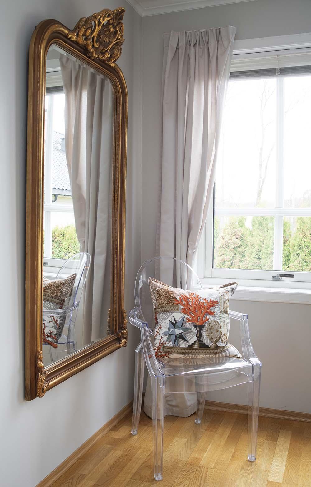 speil, antikk, interiør, gullspeil