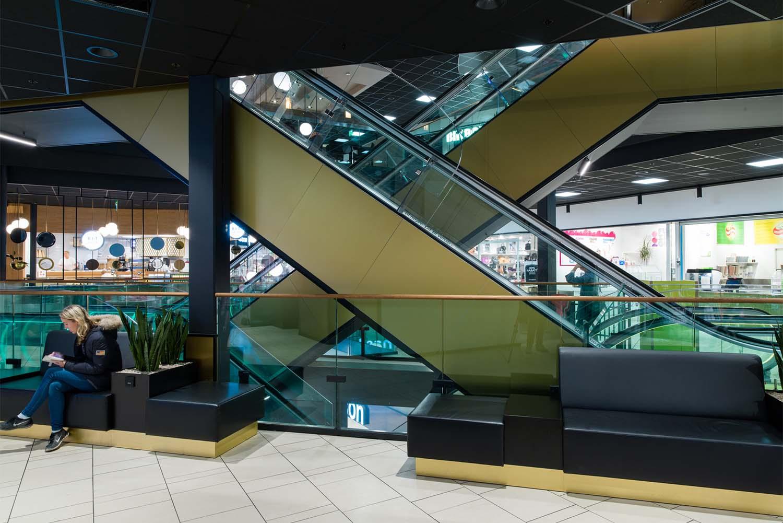 kjøpesenter, rulletrapp