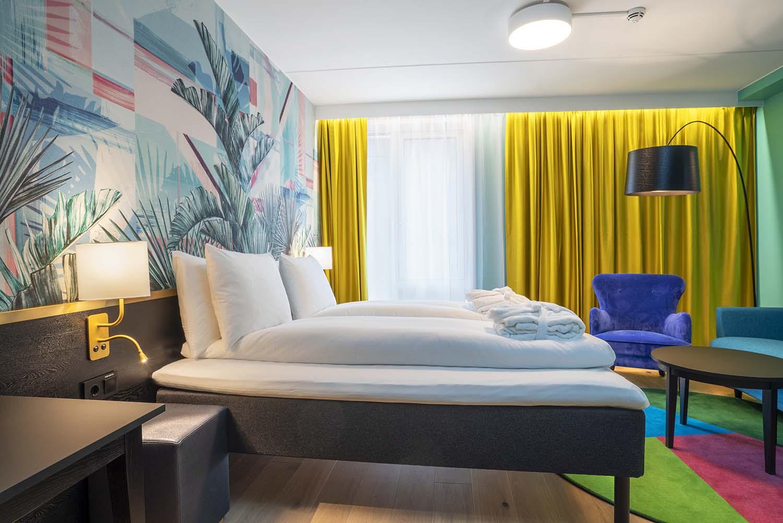seng, lys, design, hotellrom, lampe