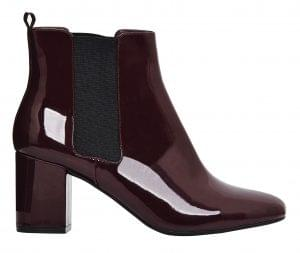 Find your autumn ankle boots: burgundy patent Chelsea boot, M&S, £39.50.