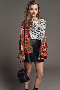 Blouse £35, bomber jacket £45, skirt £35, bag £29 from Debenhams