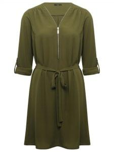 This simple khaki shirt dress is a good basic item to have in your wardrobe, dress it up with heels and jewellery or dress down with flat boots and tights for a day look. M&Co, £35