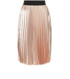 The pleated shell pink metallic midi skirt was a big trend for the summer but you can carry it over to the autumn by teaming it with ankle heel boots and woolly socks. New Look, £19.99