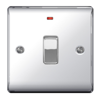 NEXUS POLISHED CHROME 20A DOUBLE POLE SWITCH WITH INDICATOR