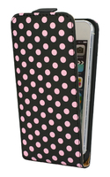 iPhone 5 Flip Case Black with Pink Polka Dots