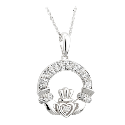 14K WHITE GOLD DIAMOND CLADDAGH PENDANT (BOXED)