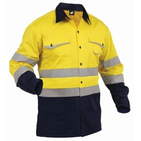 TWZ Hi Vis Day/Night Industrial Long Sleeve Vented Cotton Shirt 190gsm