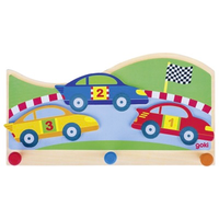 Yellow, blue and red racking cars children's coat hook