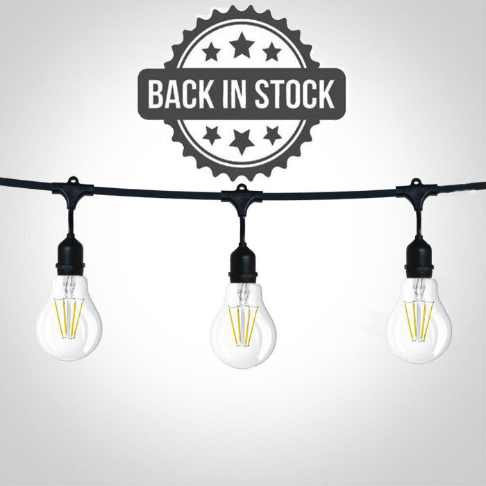 One Light 8.5m Black String Lights Complete With 15 Bulbs