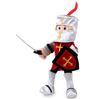 Knight hand puppet in red and silver - with armour, sword, shield and helmet