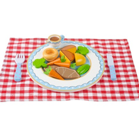 wooden roast dinner play set