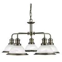 Bistro Antique Brass 5 Light Ceiling Fitting With Acid Glass Shades