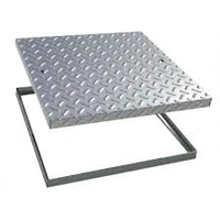 Manhole Cover & Frame Galvanised 600x600mm 20ton Chequer Plate