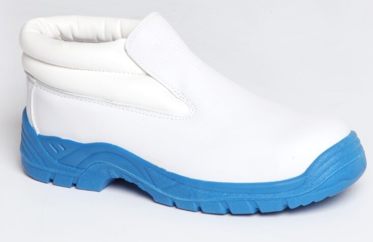 REDBACK Sky Microfibre Slip on Boot White S2 SRC (with Blue Sole)