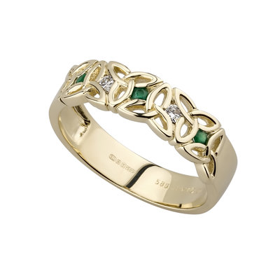14 karat diamond and emerald trinity knot ring