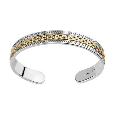 10K GOLD & SILVER HEAVY CELTIC KNOT BANGLE (BOXED)
