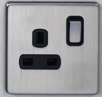 DETA Screwless 1 Gang Socket Satin Chrome Black Insert | LV0201.0432