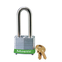 Master Lock Green laminated steel safety padlock, 40mm wide with 51mm tall shackle, keyed alike