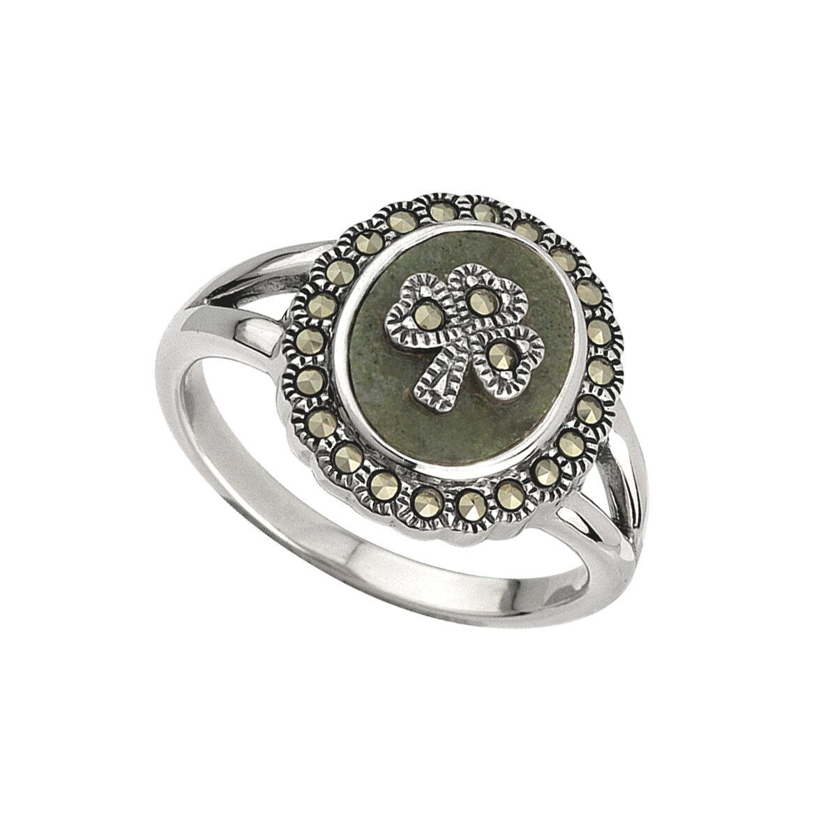 sterling silver marcasite shamrock connemara marble ring s2824 from Solvar