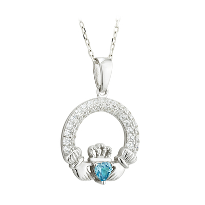 CLADDAGH AQUAMARINE PENDANT (MARCH BIRTHSTONE)