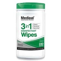 MEDIPAL ALCOHOL FREE WIPES 3in1x240 GREEN TUB