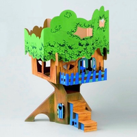 Build and paint cardboard tree-house that can be played with after it's made
