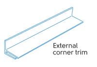 2.50m - 1 PART EXTERNAL CORNER WHITE