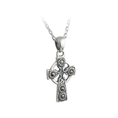 CELTIC CROSS MARCASITE PENDANT