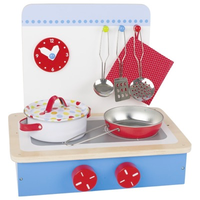 Wooden children's play tabletop kitchen with accessories