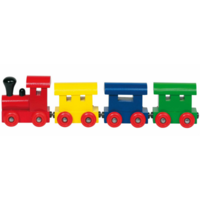 Wooden toy train with magnetic couplings