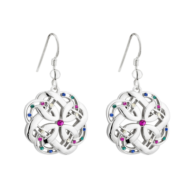 RHODIUM CRYSTAL CELTIC EARRINGS