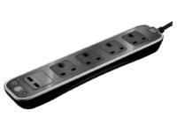 BG MASTERPLUG 13A 1M 4 GANG SURGE EXT LEAD + 2 X USB POLISHED BLACK