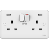 Schneider LWM Twin 13A Socket with 2 X USB Outlets. Lisse Curved White 2 gang Sp Switched USB