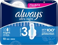 Always Ultra Night Sanitary Towels With Wings Size 3 10s