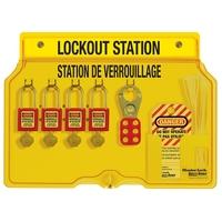 Master Lock 4-lock padlock station, english/french, Zenex™ thermoplastic padlocks