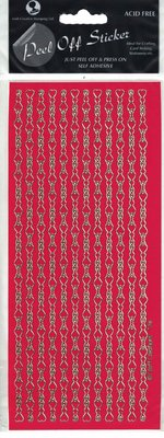 Chain Link Heart Red/Gold Peel-Off Stickers.
