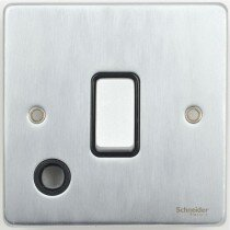 Schneider Ultimate Low Profile 20Amp Double Pole switch with Flex outlet Brushed Chrome with Black Insert   LV0701.0223