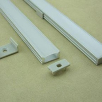 SURFACE FLAT  ALUMINIUM CHANNEL  17.4X8.2MM 3 METRE CW END CAPS & MOUNTING BRACKETS OPAL DIFFUSER