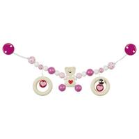 Pink teddy bear pram chain